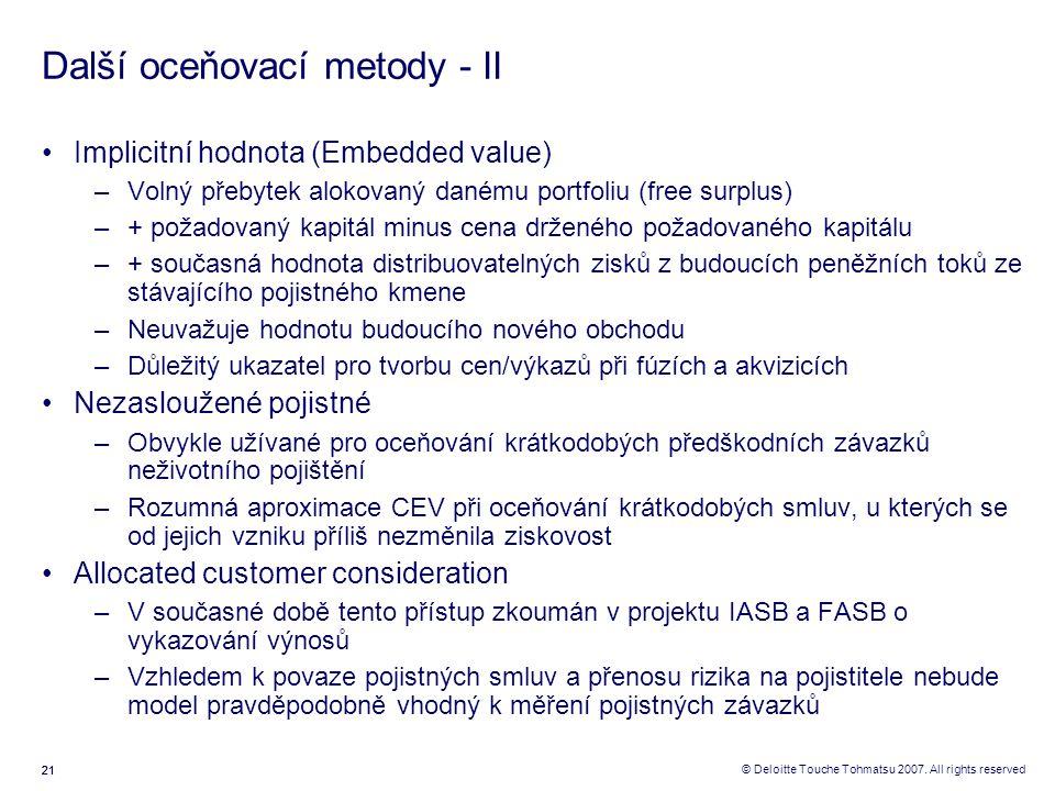 21 © Deloitte Touche Tohmatsu 2007. All rights reserved Další oceňovací metody - II Implicitní hodnota (Embedded value) –Volný přebytek alokovaný dané