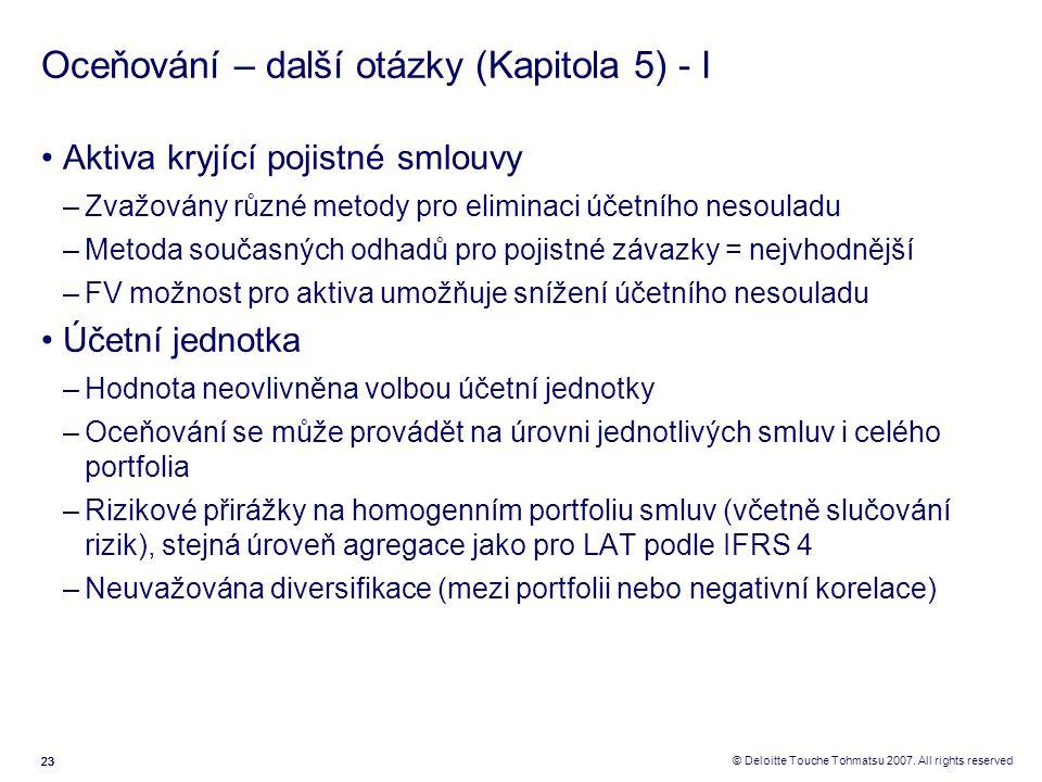 23 © Deloitte Touche Tohmatsu 2007. All rights reserved Oceňování – další otázky (Kapitola 5) - I Aktiva kryjící pojistné smlouvy –Zvažovány různé met