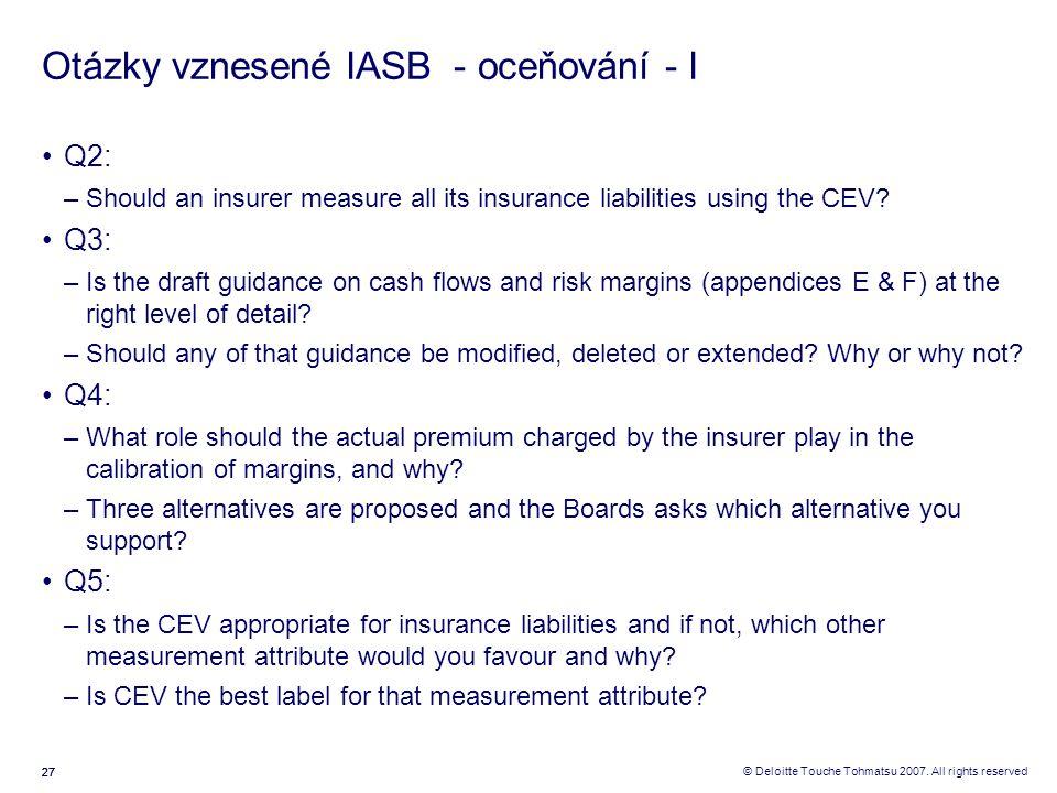 27 © Deloitte Touche Tohmatsu 2007. All rights reserved Otázky vznesené IASB - oceňování - I Q2: –Should an insurer measure all its insurance liabilit