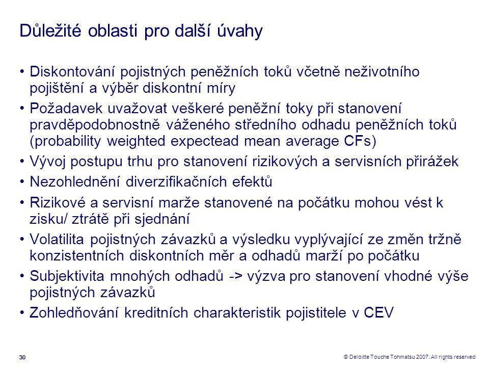 30 © Deloitte Touche Tohmatsu 2007. All rights reserved Důležité oblasti pro další úvahy Diskontování pojistných peněžních toků včetně neživotního poj