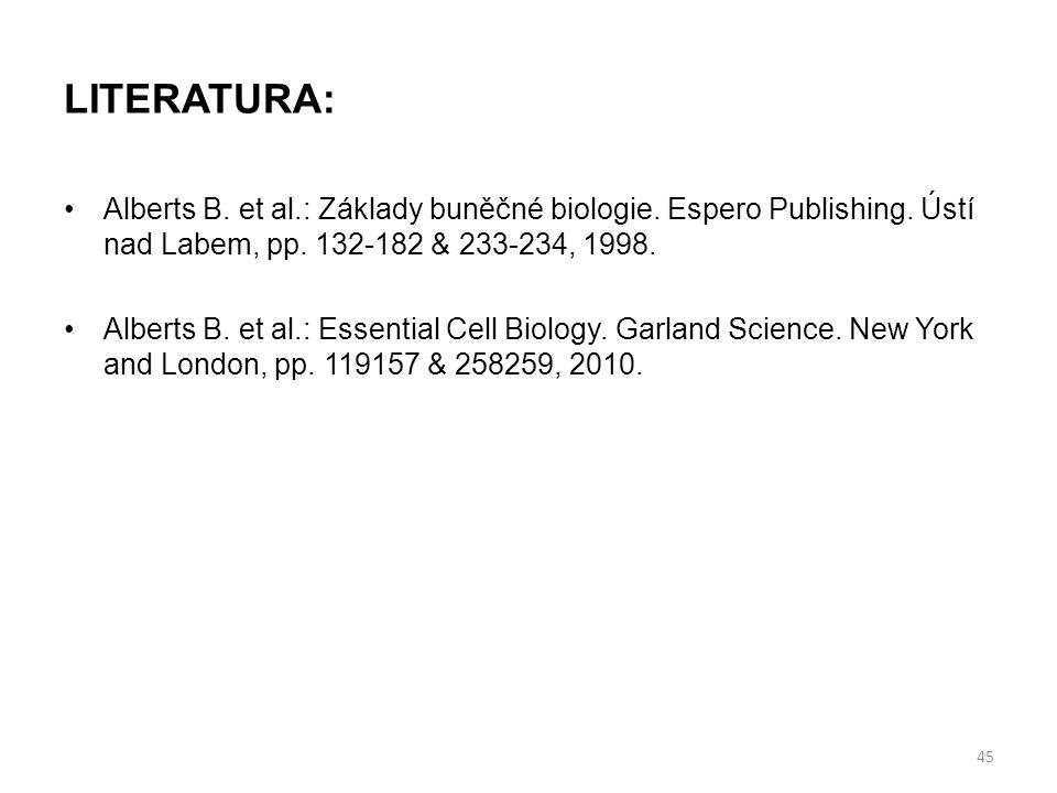 LITERATURA: Alberts B. et al.: Základy buněčné biologie. Espero Publishing. Ústí nad Labem, pp. 132-182 & 233-234, 1998. Alberts B. et al.: Essential