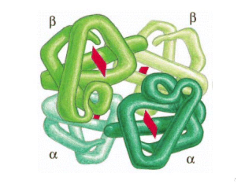 4.VAZBA DALŠÍCH MOLEKUL NA PROTEINY: Ligandy: vazba ligandu je vysoce selektivní a souvisí přímo s funkcí proteinu.[FIG.] Vazba iontu/atomu: Ca 2+ (kalmodulin), Fe 3+ (transferin) Vazba malé molekuly: hem (hemoglobin), retinal (rhodopsin), sacharid (glykoproteiny), fosfát (fosforylované proteiny), GTP (GTP vázající proteiny) Vazba neproteinové makromolekuly: DNA (transkripční faktory) Vazba molekuly proteinu: proteinový substrát (enzym), proteinový antigen (protilátka) 28