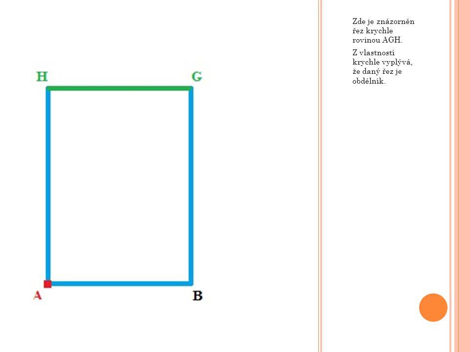 Zde je znázorněn řez krychle rovinou AGH. Z vlastností krychle vyplývá, že daný řez je obdélník.