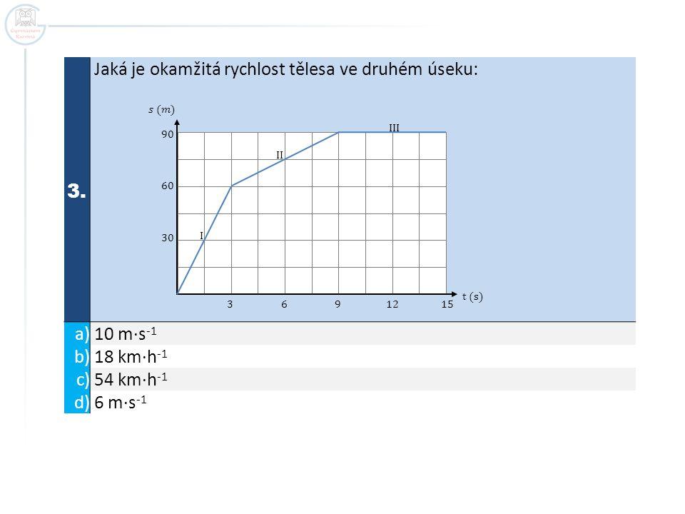 3. Jaká je okamžitá rychlost tělesa ve druhém úseku: a) 10 m∙s -1 b) 18 km∙h -1 c) 54 km∙h -1 d) 6 m∙s -1 t (s) 3 6 9 12 15 90 60 30 I II III