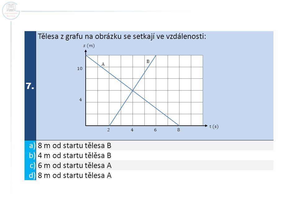 7. Tělesa z grafu na obrázku se setkají ve vzdálenosti: a) 8 m od startu tělesa B b) 4 m od startu tělěsa B c) 6 m od startu tělesa A d) 8 m od startu