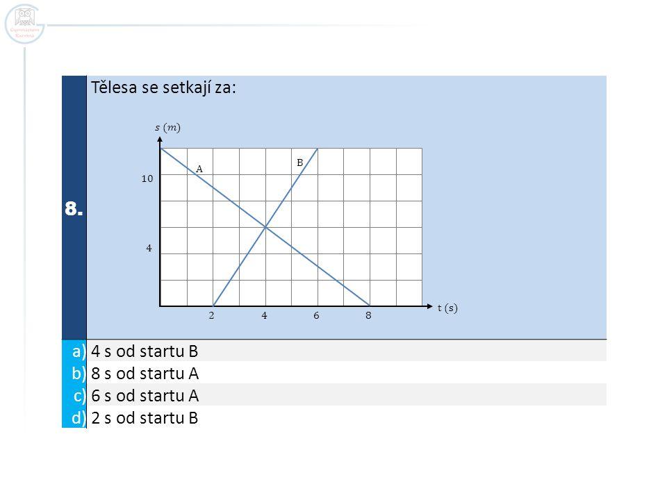 8. Tělesa se setkají za: a) 4 s od startu B b) 8 s od startu A c) 6 s od startu A d) 2 s od startu B t (s) 2 4 6 8 10 4 A B