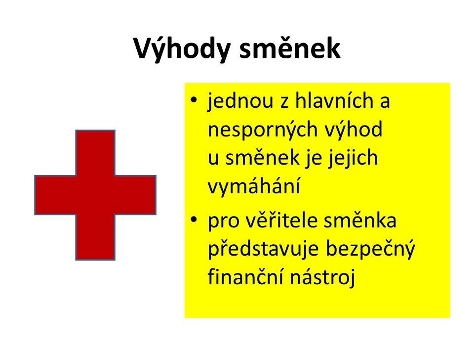 Výhody směnek jednou z hlavních a nesporných výhod u směnek je jejich vymáhání pro věřitele směnka představuje bezpečný finanční nástroj