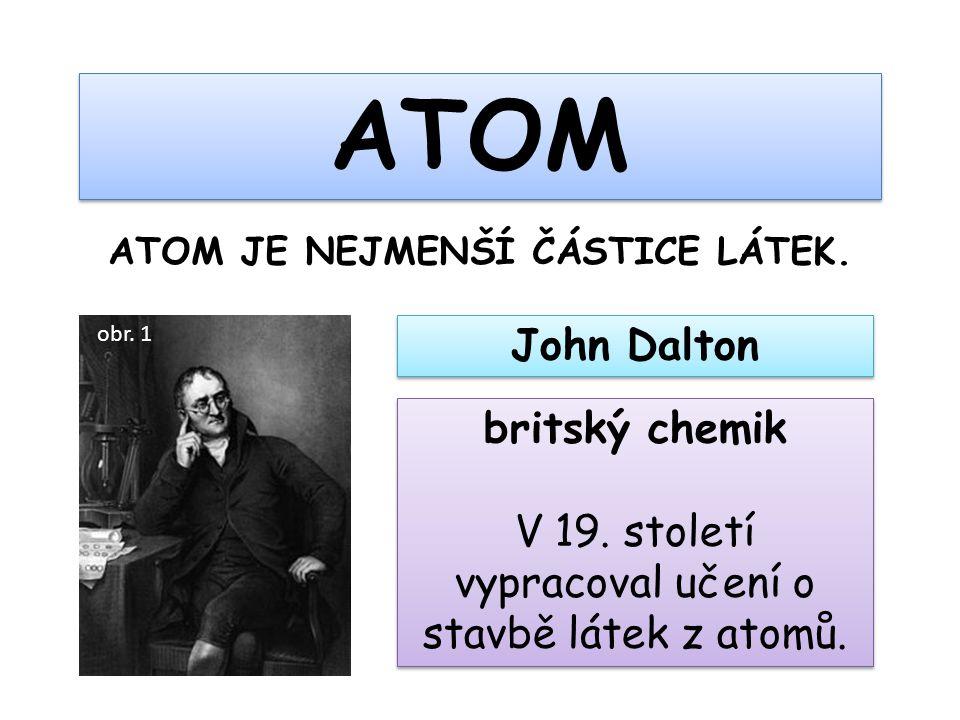 ATOM ATOM JE NEJMENŠÍ ČÁSTICE LÁTEK. John Dalton britský chemik V 19. století vypracoval učení o stavbě látek z atomů. britský chemik V 19. století vy