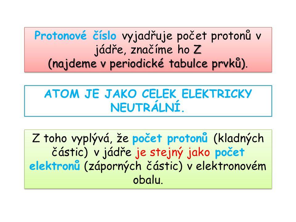 Z Protonové číslo vyjadřuje počet protonů v jádře, značíme ho Z (najdeme v periodické tabulce prvků) (najdeme v periodické tabulce prvků). Z Protonové