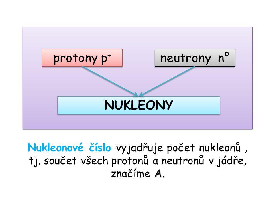 protony p + neutrony n° NUKLEONY A. Nukleonové číslo vyjadřuje počet nukleonů, tj.