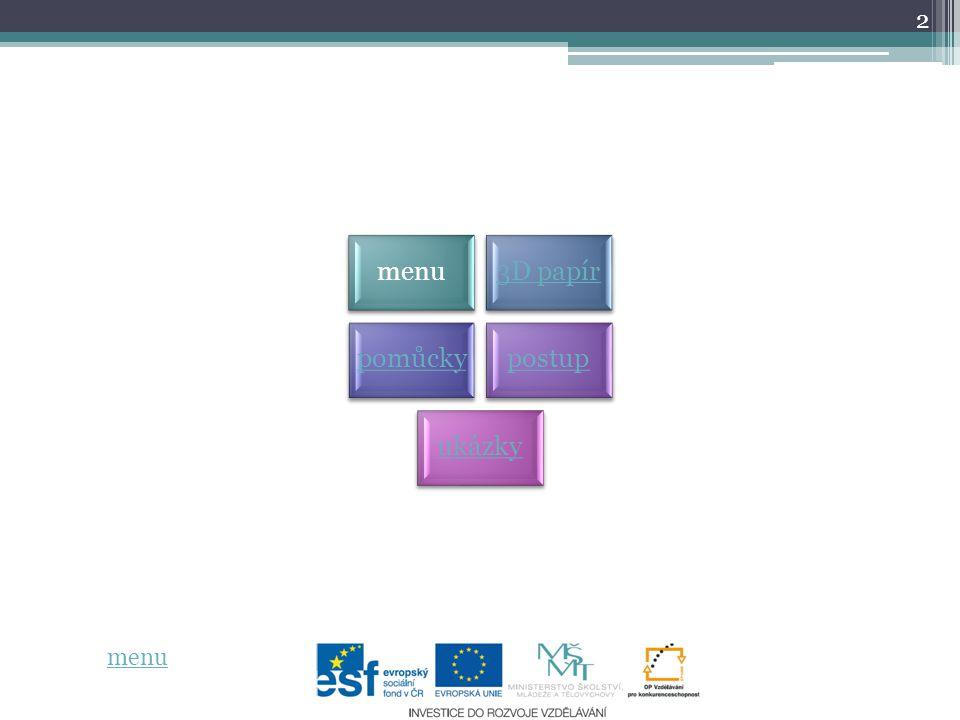 2 menu3D papír pomůckypostup ukázky menu
