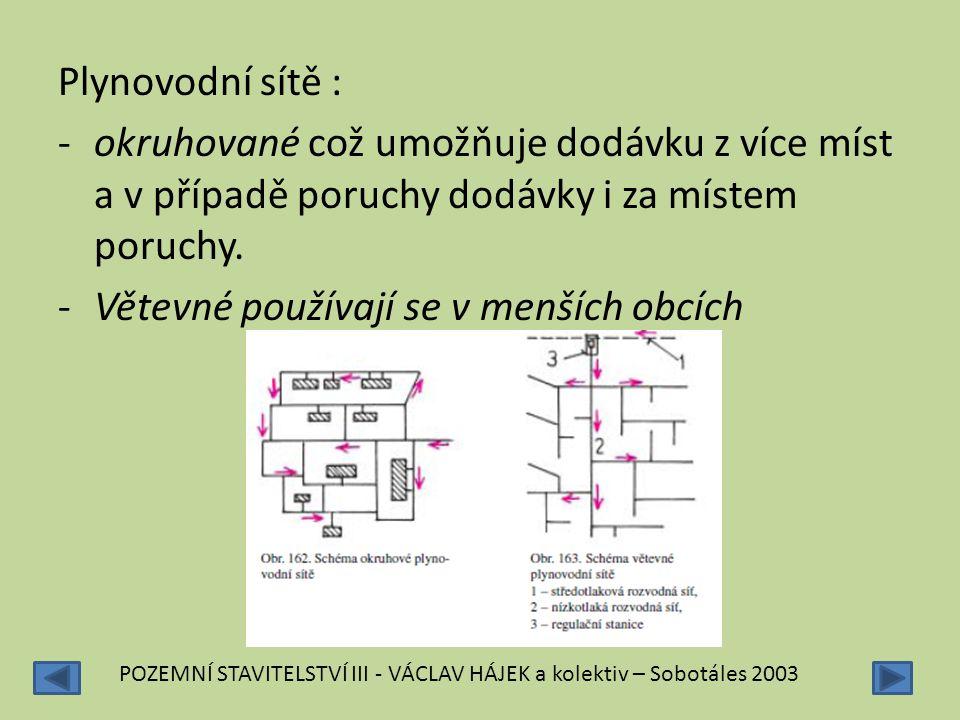 Plynovodní sítě : -okruhované což umožňuje dodávku z více míst a v případě poruchy dodávky i za místem poruchy. -Větevné používají se v menších obcích