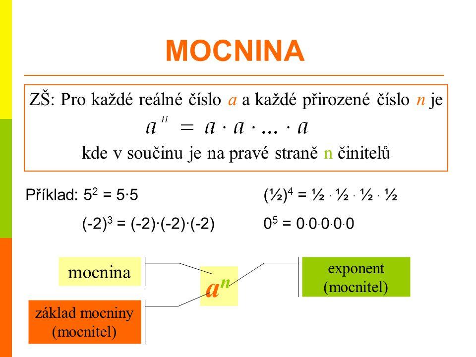 ZŠ: Pro každé reálné číslo a a každé přirozené číslo n je kde v součinu je na pravé straně n činitelů anan základ mocniny (mocnitel) mocnina exponent
