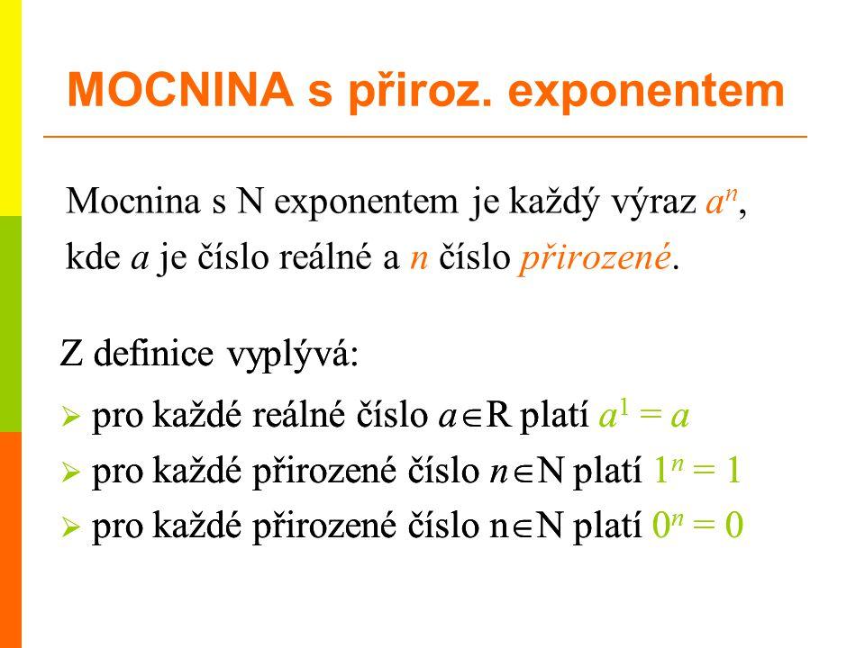 Mocnina s N exponentem je každý výraz a n, kde a je číslo reálné a n číslo přirozené. Z definice vyplývá:  pro každé reálné číslo a  R platí a 1 = a