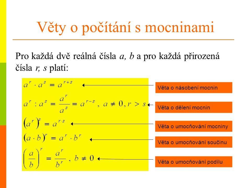 Věty o počítání s mocninami Pro každá dvě reálná čísla a, b a pro každá přirozená čísla r, s platí: Věta o násobení mocnin Věta o dělení mocnin Věta o