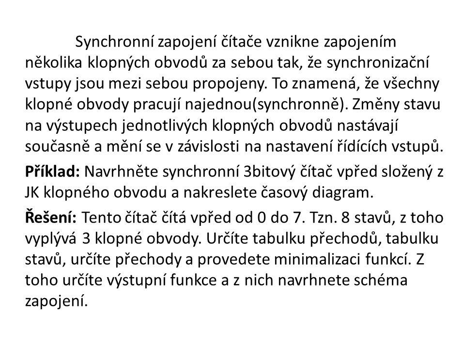 Výchozí stav Následující stav J K 0 0 0 X 0 1 1 X 1 0 X 1 1 1 X 0 Tabulka přechodů Abychom mohli sestrojit tabulku přechodů, je nutno si uvědomit jak pracuje JK klopný obvod.