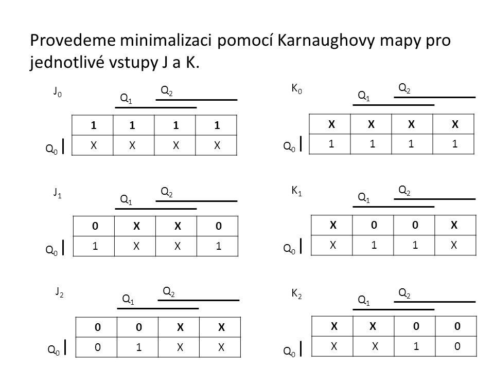 Provedeme minimalizaci pomocí Karnaughovy mapy pro jednotlivé vstupy J a K.