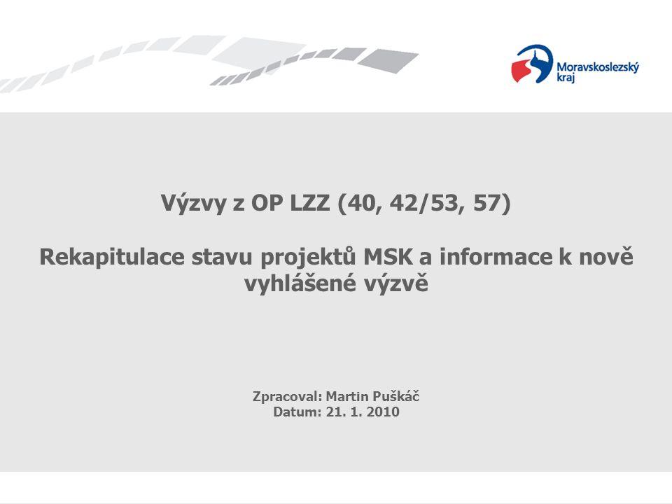 Výzvy z OP LZZ (40, 42/53, 57) - rekapitulace Výzvy z OP LZZ (40, 42/53, 57) Rekapitulace stavu projektů MSK a informace k nově vyhlášené výzvě Zpracoval: Martin Puškáč Datum: 21.