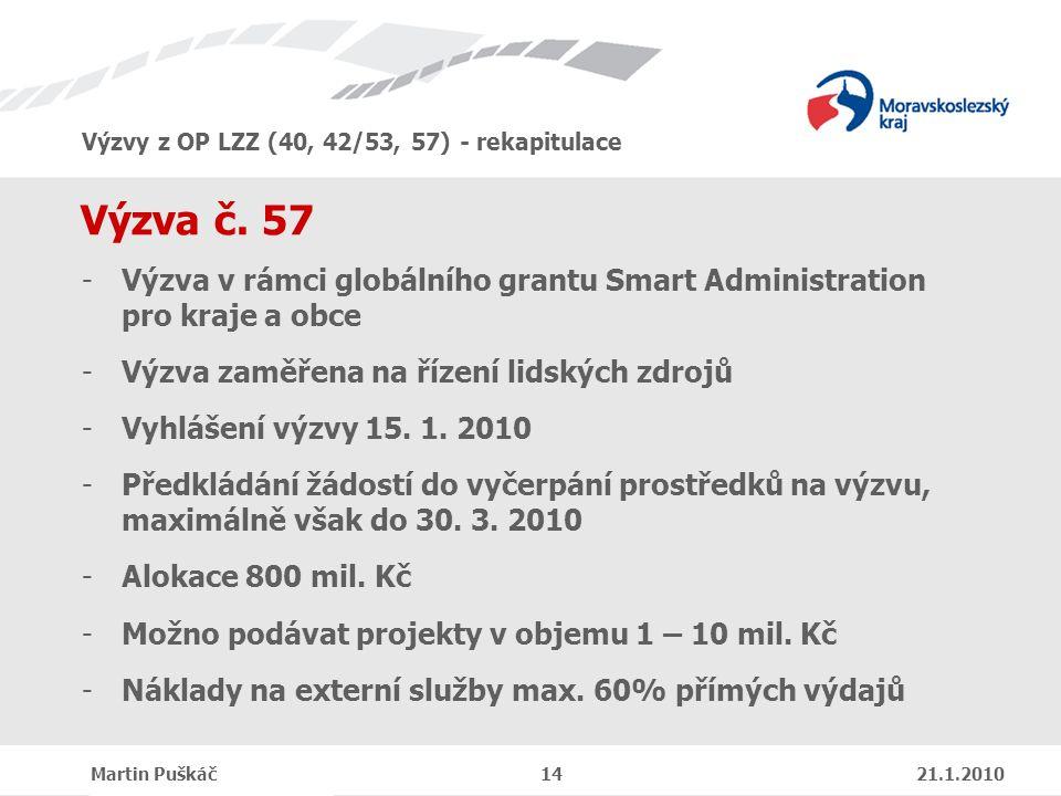 Výzvy z OP LZZ (40, 42/53, 57) - rekapitulace Martin Puškáč 14 21.1.2010 Výzva č.