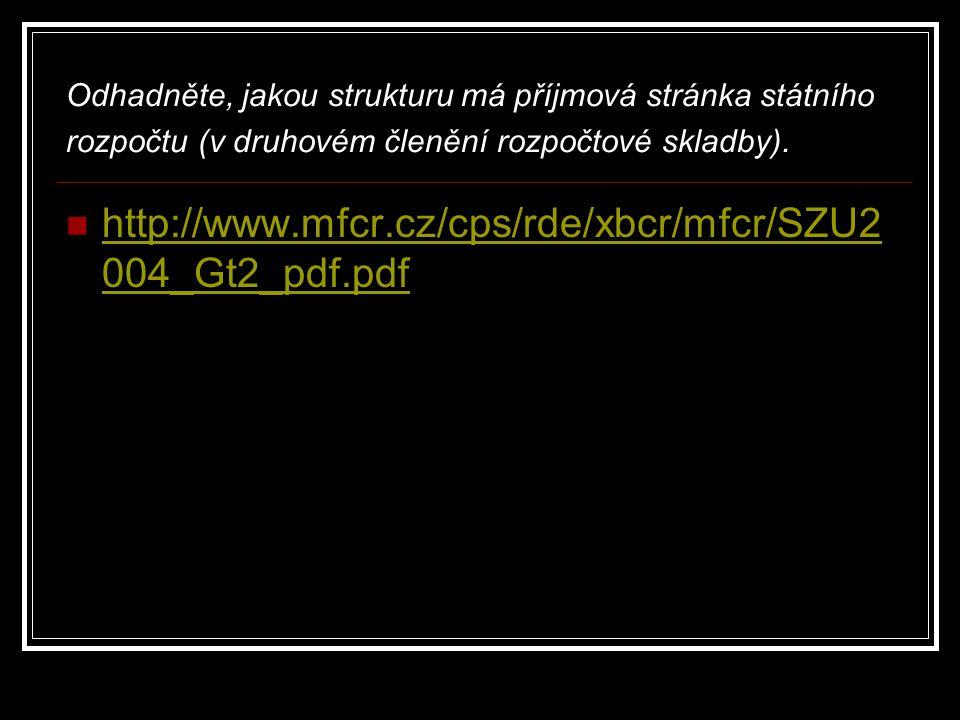 Odhadněte, jakou strukturu má příjmová stránka státního rozpočtu (v druhovém členění rozpočtové skladby). http://www.mfcr.cz/cps/rde/xbcr/mfcr/SZU2 00