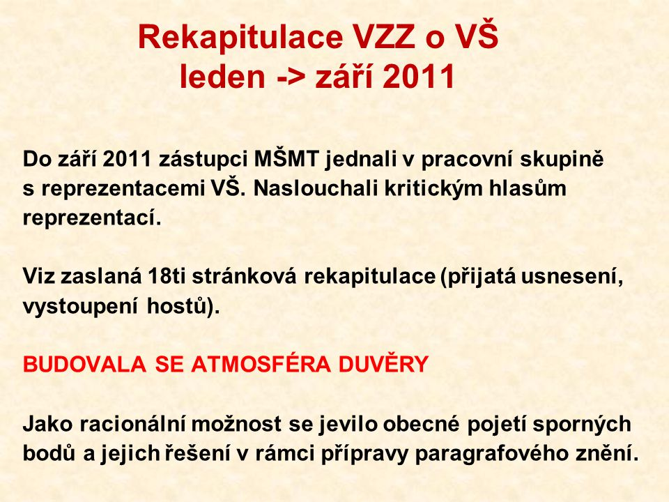 """Rekapitulace VZZ o VŠ září -> listopad 2011 Pak ale byly zveřejněny další 2 verze VZZ o VŠ: Září 2011 – upraveno poradci ministra listopad 2011 – upraveno """"malou K9 (zástupci koalice) Obě neprojednané s reprezentacemi a přitom obsahující zásadní změny proti výsledkům jednání s reprezentacemi."""