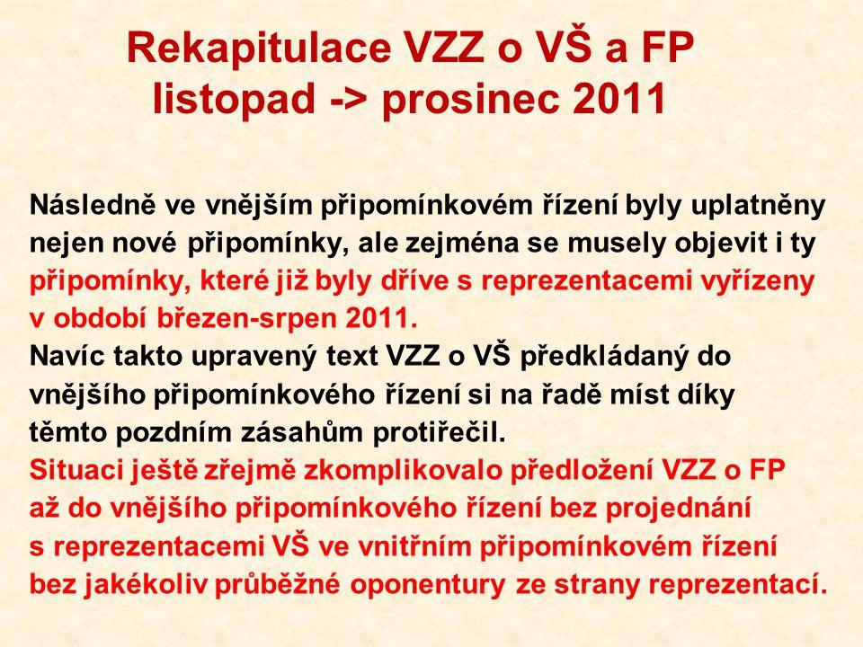 Rekapitulace VZZ o VŠ a FP listopad -> prosinec 2011 Následně ve vnějším připomínkovém řízení byly uplatněny nejen nové připomínky, ale zejména se musely objevit i ty připomínky, které již byly dříve s reprezentacemi vyřízeny v období březen-srpen 2011.