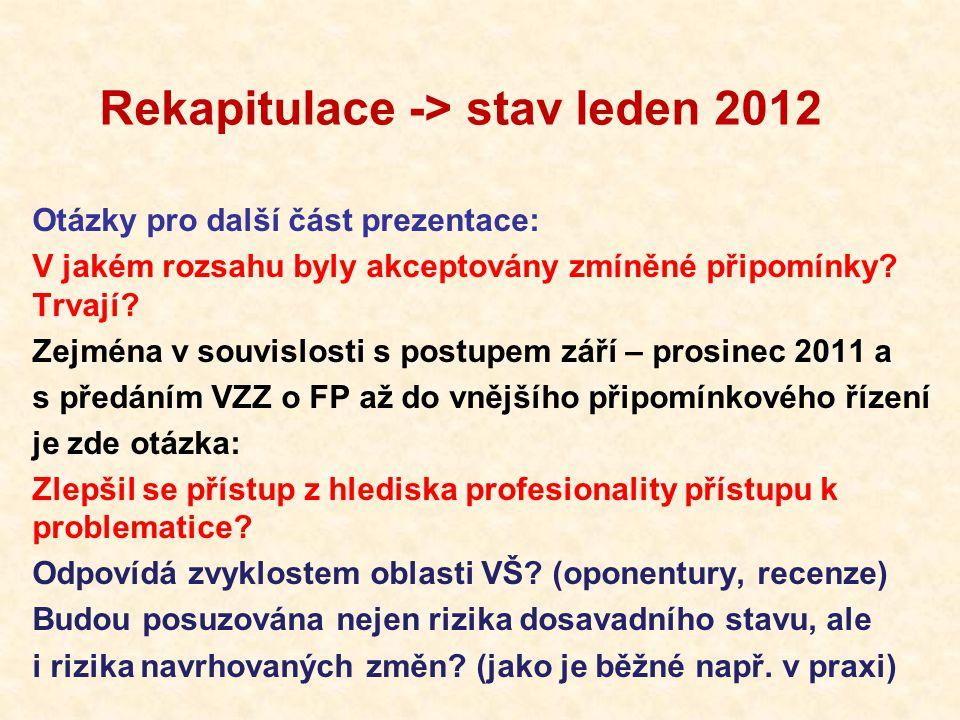 Rekapitulace -> stav leden 2012 Otázky pro další část prezentace: V jakém rozsahu byly akceptovány zmíněné připomínky.