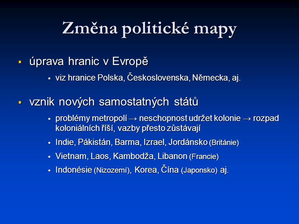 Změna politické mapy  úprava hranic v Evropě  viz hranice Polska, Československa, Německa, aj.  vznik nových samostatných států  problémy metropol