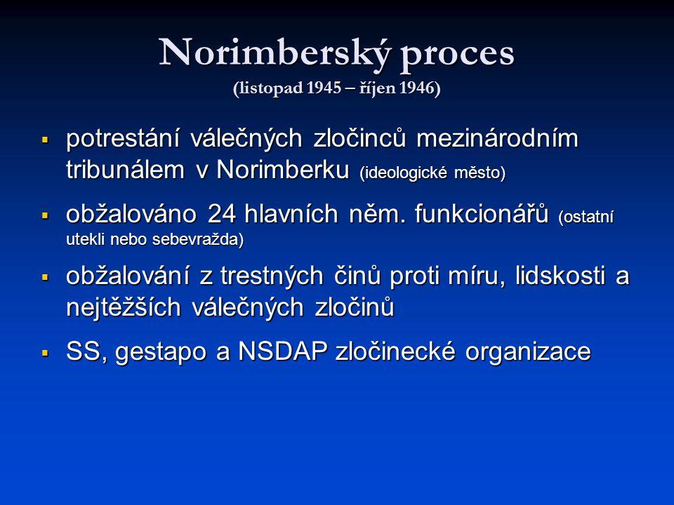 Norimberský proces (listopad 1945 – říjen 1946)  potrestání válečných zločinců mezinárodním tribunálem v Norimberku (ideologické město)  obžalováno