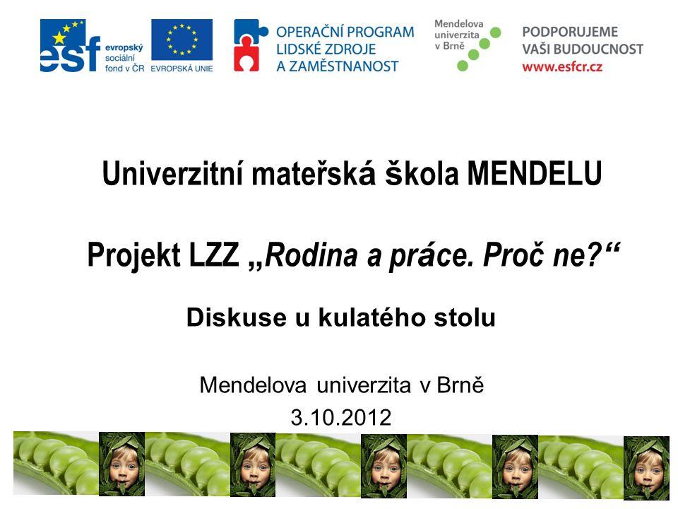 """Univerzitní mateřsk á š kola MENDELU Projekt LZZ """" Rodina a pr á ce."""