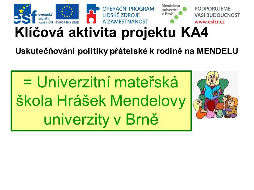 Klíčová aktivita projektu KA4 Uskutečňování politiky přátelské k rodině na MENDELU = Univerzitní mateřská škola Hrášek Mendelovy univerzity v Brně