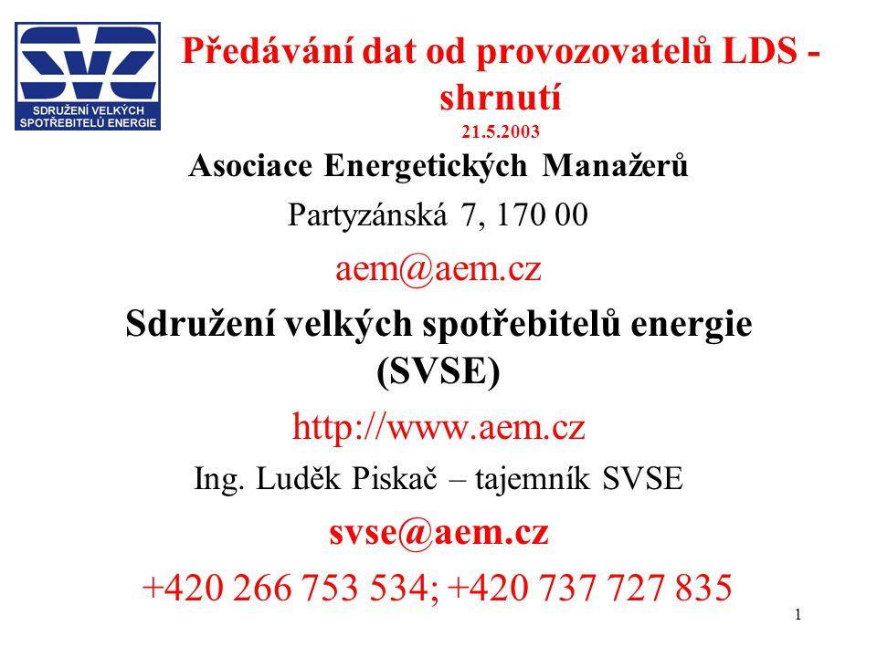 1 Předávání dat od provozovatelů LDS - shrnutí 21.5.2003 Asociace Energetických Manažerů Partyzánská 7, 170 00 aem@aem.cz Sdružení velkých spotřebitel