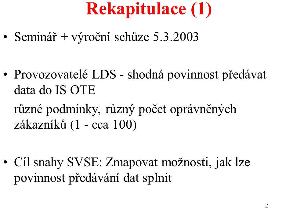 2 Rekapitulace (1) Seminář + výroční schůze 5.3.2003 Provozovatelé LDS - shodná povinnost předávat data do IS OTE různé podmínky, různý počet oprávněn