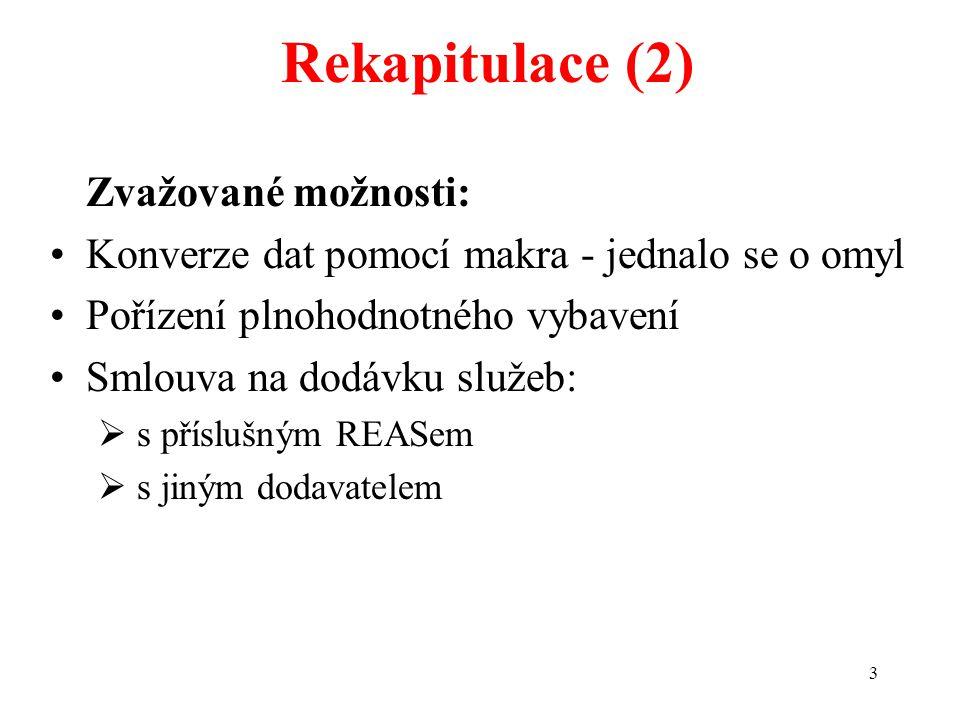 3 Rekapitulace (2) Zvažované možnosti: Konverze dat pomocí makra - jednalo se o omyl Pořízení plnohodnotného vybavení Smlouva na dodávku služeb:  s p