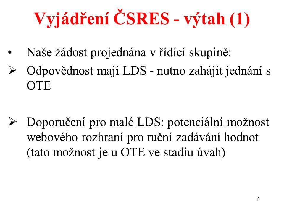 8 Vyjádření ČSRES - výtah (1) Naše žádost projednána v řídící skupině:  Odpovědnost mají LDS - nutno zahájit jednání s OTE  Doporučení pro malé LDS: