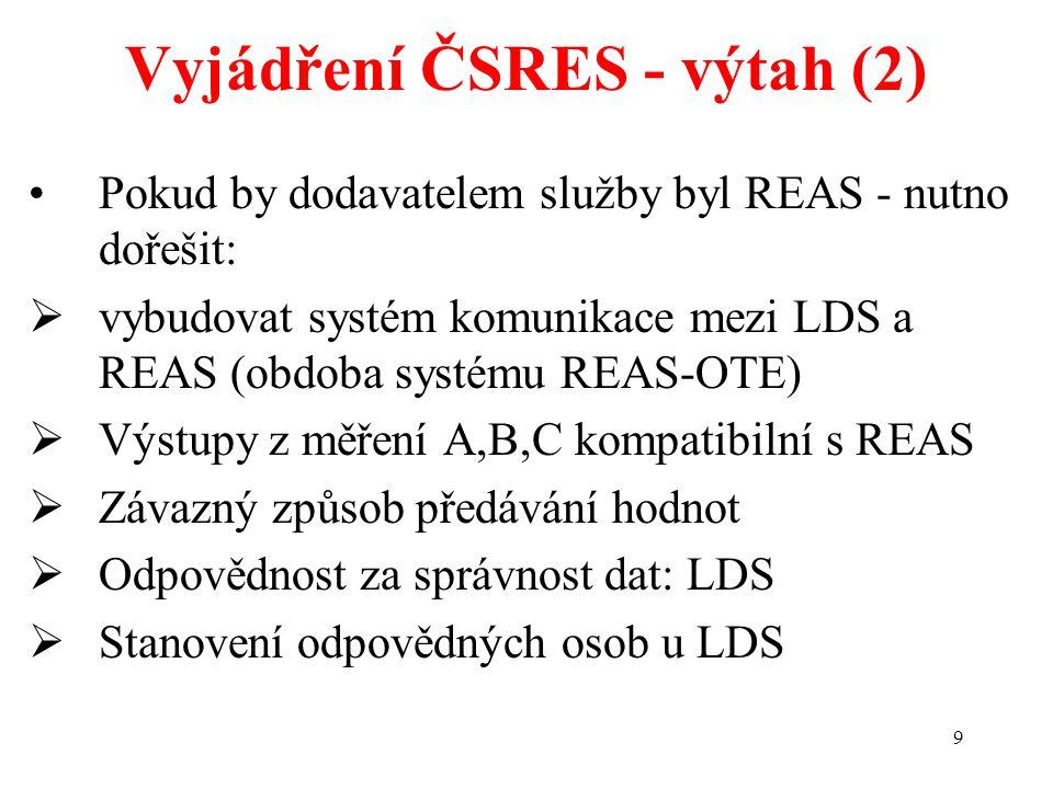 9 Vyjádření ČSRES - výtah (2) Pokud by dodavatelem služby byl REAS - nutno dořešit:  vybudovat systém komunikace mezi LDS a REAS (obdoba systému REAS
