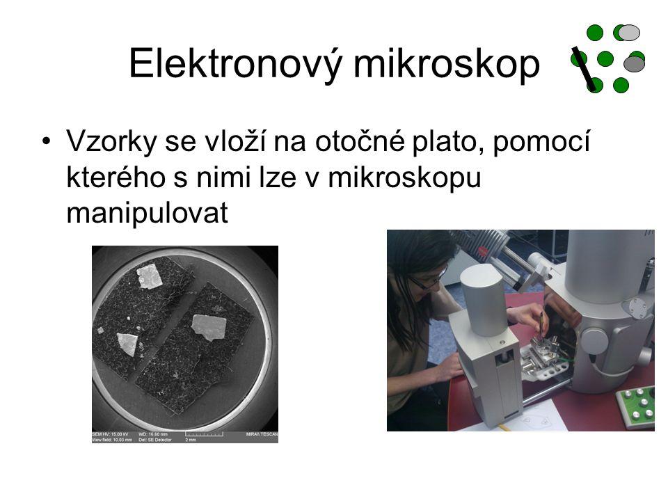 Elektronový mikroskop Vzorky se vloží na otočné plato, pomocí kterého s nimi lze v mikroskopu manipulovat