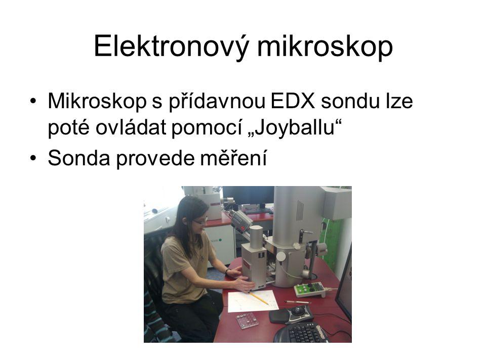 """Elektronový mikroskop Mikroskop s přídavnou EDX sondu lze poté ovládat pomocí """"Joyballu"""" Sonda provede měření"""