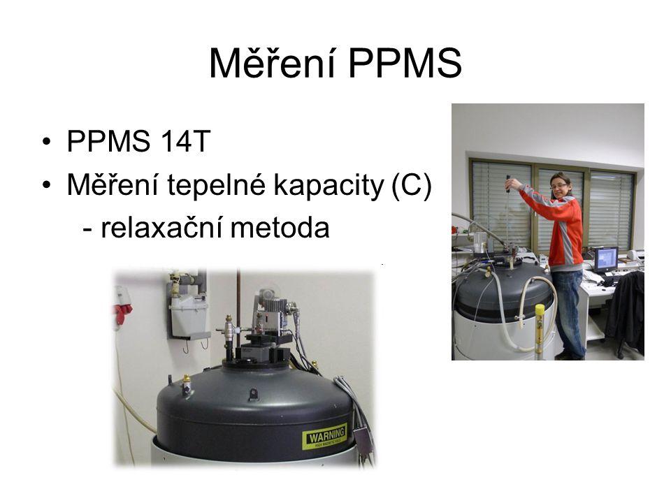 Měření PPMS PPMS 14T Měření tepelné kapacity (C) - relaxační metoda