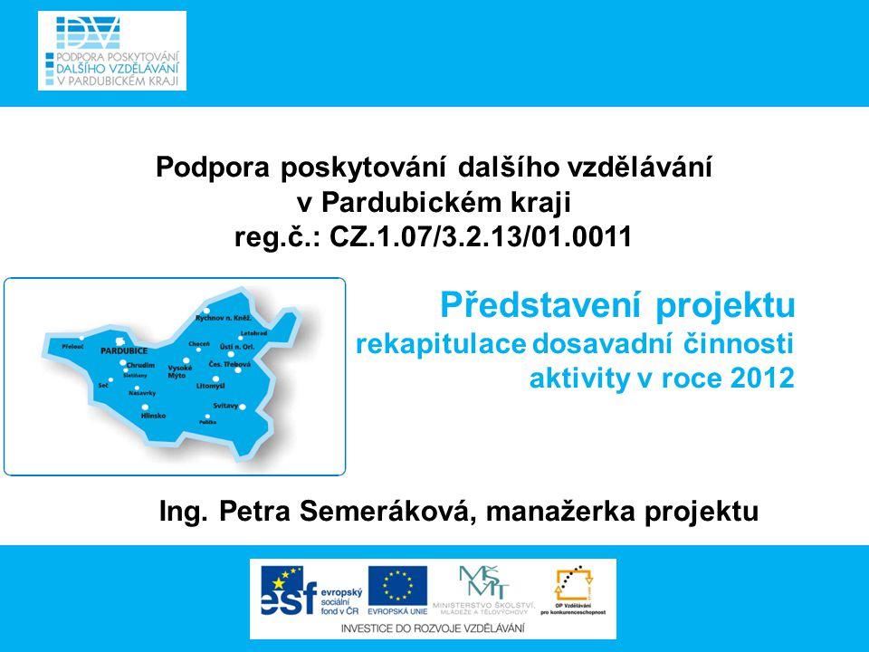 Podpora poskytování dalšího vzdělávání v Pardubickém kraji reg.č.: CZ.1.07/3.2.13/01.0011 Představení projektu - rekapitulace dosavadní činnosti aktivity v roce 2012 Ing.