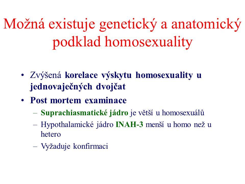 Možná existuje genetický a anatomický podklad homosexuality Zvýšená korelace výskytu homosexuality u jednovaječných dvojčat Post mortem examinace –Sup