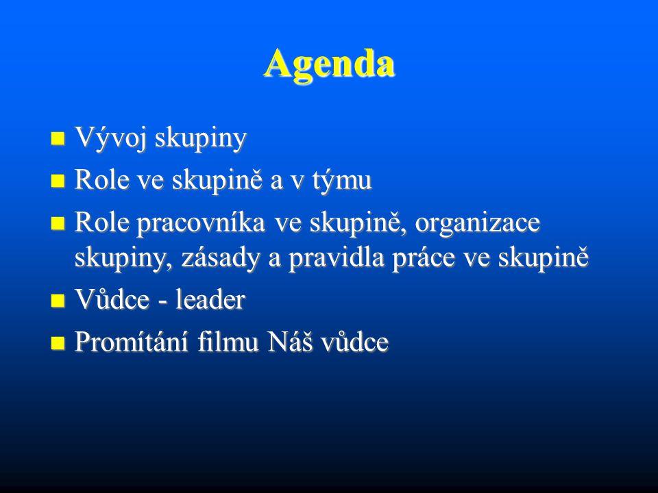 Agenda Vývoj skupiny Vývoj skupiny Role ve skupině a v týmu Role ve skupině a v týmu Role pracovníka ve skupině, organizace skupiny, zásady a pravidla práce ve skupině Role pracovníka ve skupině, organizace skupiny, zásady a pravidla práce ve skupině Vůdce - leader Vůdce - leader Promítání filmu Náš vůdce Promítání filmu Náš vůdce