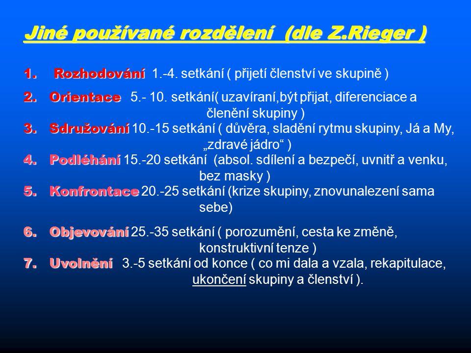 Jiné používané rozdělení (dle Z.Rieger ) 1. Rozhodování 1.