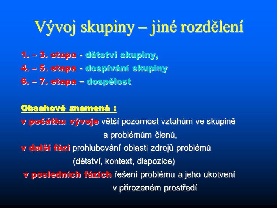 Vývoj skupiny – jiné rozdělení 1. – 3. etapa - dětství skupiny, 4.