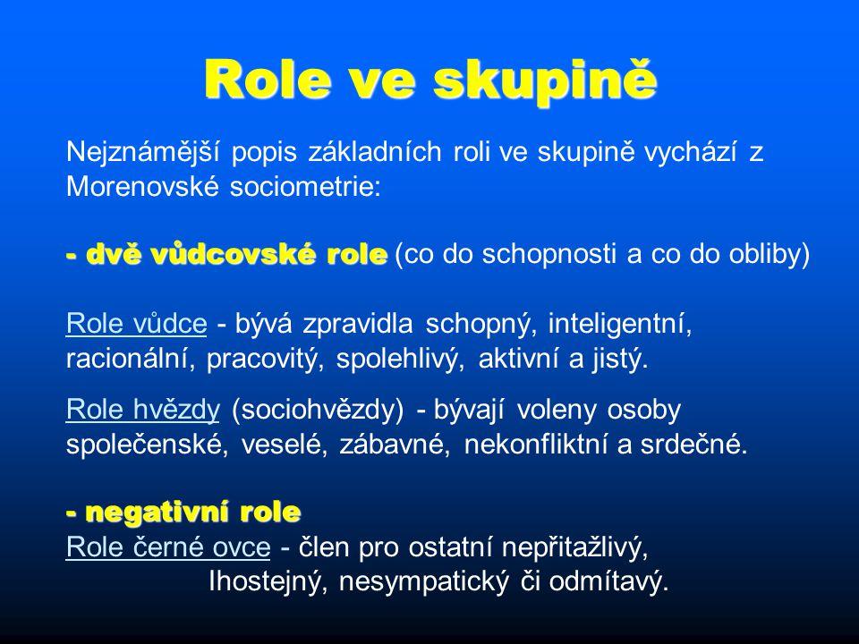 Role ve skupině Nejznámější popis základních roli ve skupině vychází z Morenovské sociometrie: - dvě vůdcovské role - dvě vůdcovské role (co do schopnosti a co do obliby) Role vůdce - bývá zpravidla schopný, inteligentní, racionální, pracovitý, spolehlivý, aktivní a jistý.