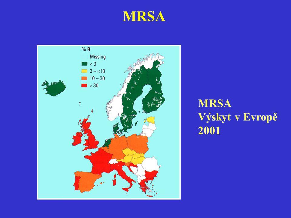 MRSA Výskyt v Evropě 2001