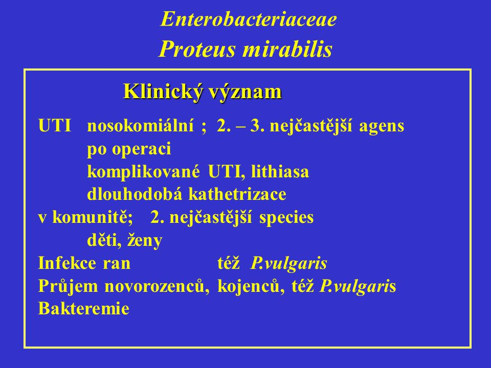 Enterobacteriaceae Klinický význam UTI nosokomiální ; 2.