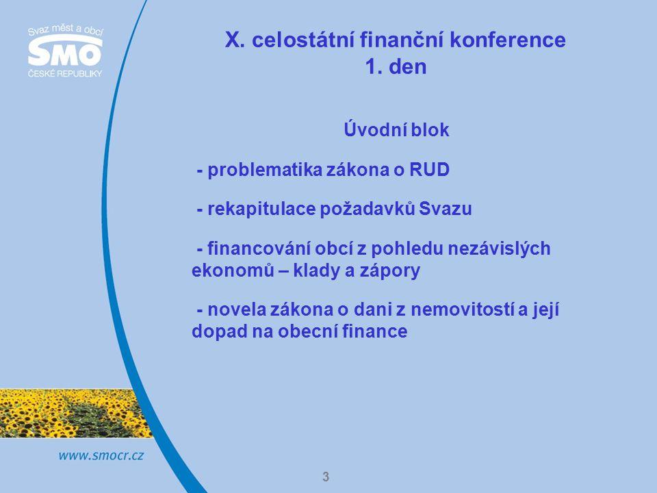 3 X. celostátní finanční konference 1. den Úvodní blok - problematika zákona o RUD - rekapitulace požadavků Svazu - financování obcí z pohledu nezávis