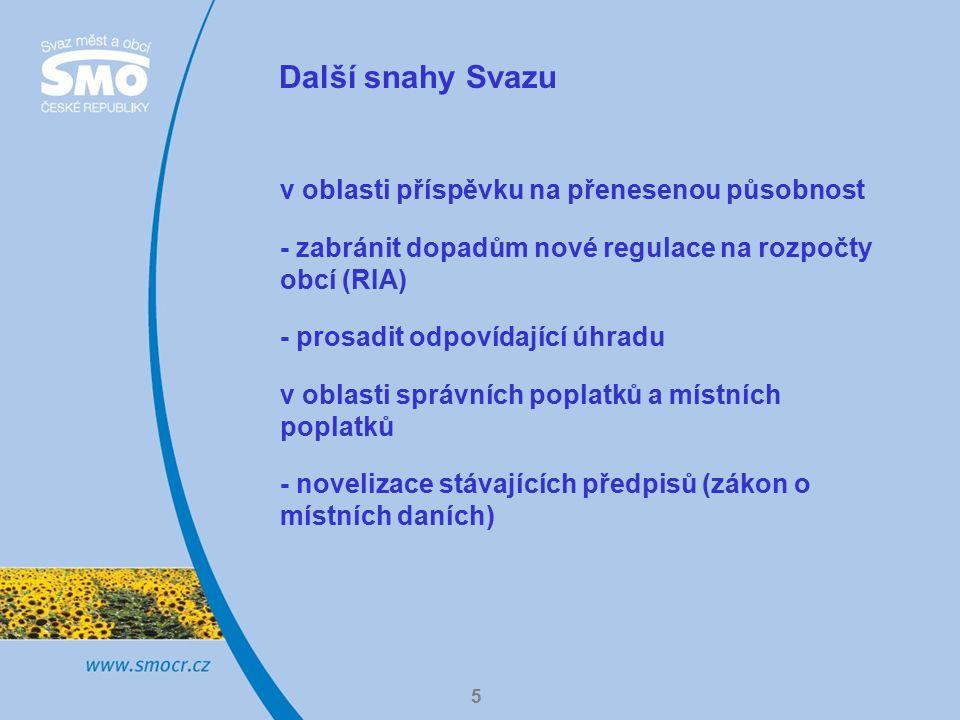 5 Další snahy Svazu v oblasti příspěvku na přenesenou působnost - zabránit dopadům nové regulace na rozpočty obcí (RIA) - prosadit odpovídající úhradu