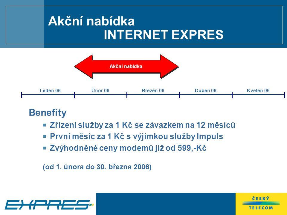 Akční nabídka INTERNET EXPRES Akční nabídka Benefity Zřízení služby za 1 Kč se závazkem na 12 měsíců První měsíc za 1 Kč s výjimkou služby Impuls Zvýhodněné ceny modemů již od 599,-Kč (od 1.